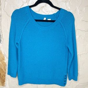 Moth Teal Button Side Sweater